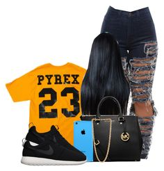 """""""Untitled #232"""" by princess-miyah ❤ liked on Polyvore featuring Pyrex, MICHAEL Michael Kors, NIKE and Forever 21"""