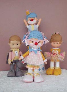 Kit Circo vintage rosa circo rosa, circo menina, circo vintage, bonecos de feltro, palhacinha de feltro, mágico de feltro, bailarina de feltro, palhaço de feltro