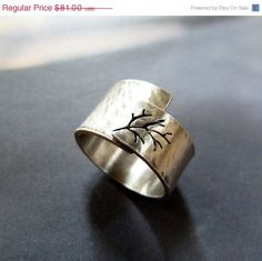 CIJ SALE 15 Rustic autumn tree ring Sterling silver ring by Mirma, $68.85