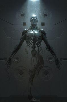 "Terminator: - rhubarbes: ""ArtStation - Cyborg Birth, by Ian Llanas "" Dark Fantasy Art, Dark Art, Science Fiction, Der Joker, Amoled Wallpapers, Arte Robot, Arte Cyberpunk, Robot Concept Art, Ex Machina"