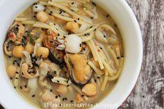 Zuppetta di Ceci, cozze e Seppioline or Mussels, Squid and Chicpea Soup