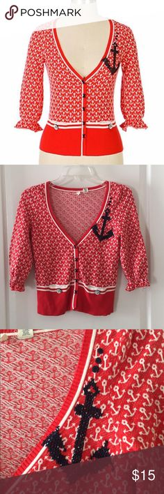 """Anthropologie Sailor Anchor Cardigan By Moth. Too cute. Very good condition, with the exception of spots on back of left sleeve (at the elbow). This really isn't an issue when it's on. Price is reflective. Rare piece and really cute this time of year. Hits high at the waist. Approx measurements: across chest- 16.5"""", shoulder to hem- 21"""". Anthropologie Sweaters Cardigans"""