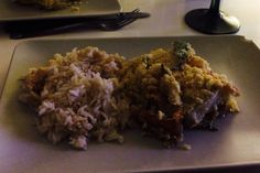 Crumble poisson , courgette . Accompagnement riz basmati