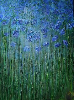 ARTFINDER: Cornflowers by Colette Baumback - Cornflowers:   A field  of blue flowers and grasses . The work is acrylic on canvas, the paint was applied with a palette knife and has a textured surface a...