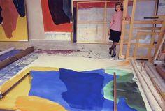 Helen Frankenthaler in her NYC studio in 1960s, photo by Michael Fredericks