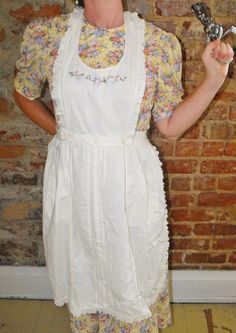 Embroidered White Pinafore Apron with Eyelet by dabubblegumgirl, $28.00