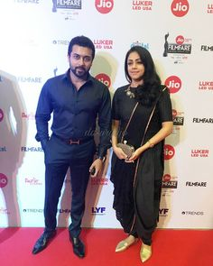 """#Suriya and Jyothika for filmfare awards 2017 (@surya.sivakumarfb) on Instagram: """"At #JioFilmFareAwards"""" Surya Actor, Ethinic Wear, India Country, Indian Designer Suits, Indian Outfits, Indian Clothes, Actors Images, Indian Celebrities, Best Couple"""