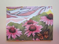 Pink Black Eyed Susan ACEO Collage Watercolor  by watercolorsNmore, $4.50