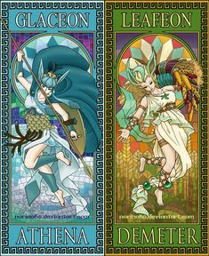 Here's Glaceon and Leafeon as Athena and Demeter. These two were the first of the eeveelutions I started with. Demeter ended up being the one with the m. Pokemon Fusion, Gif Pokemon, Pokemon Human Form, Umbreon And Espeon, Pikachu, Pokemon Eeveelutions, Eevee Evolutions, Pokemon Fan Art, Cute Pokemon