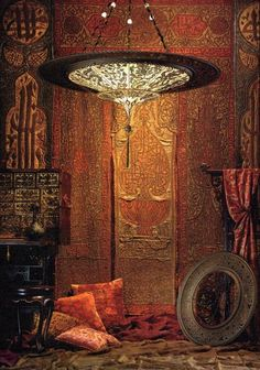 Fortuny Lamp and fabrics | Bohemian/Hippy/Ethnic/Tribal Interior