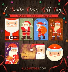 Round christmas gift tags free printable gift tag templates printable santa claus gift tags get them in pdf format at http negle Image collections