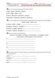 CE1 - Les familles de mots - exercices | ECOLE francais ...