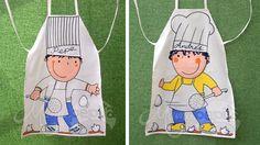 Delantales para niños, confeccionados en loneta y pintados a mano.  Pueden ir personalizados con el nombre en el tazón (fresas), la falda (...