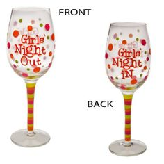 "Girls Night In/Out,Handpainted Wine Glass 12 oz,Glass,3.5x9 Inches by Cypress Home. $14.99. Packaged in attractive gift box. Different wording on front and back of glass;Hand-painted clear wine glass. Hand wash only. Perfect gift for the wine enthusiast. The size is: 3.5""x9"". Feisty and unexpected just like you, this wine glass is eye-catching. With dramatic flair, it declares, ""Girls Night Out"" or ""Girls Night In"" depending on how the glass is turned. Perfectly desi..."