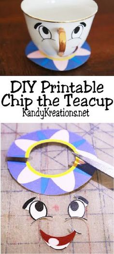 Celebrate your love of Beauty and the Beast by making your own Chip the Teacup decoration. This DIY project shows you how to make Chip using a thrift store teacup and cheap printable for a fun and unique Beauty and the Beast party decoration. Beauty And The Beast Crafts, Chip Beauty And The Beast, Diy Beauty And The Beast Decorations, Beauty And Beast Birthday, Beauty And Beast Wedding, Beauty Beast, Disney Diy, Disney Crafts, How To Make Chips