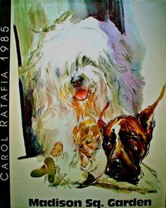 Items similar to Old English Sheepdog and Great Dane in booth at Westminster sheepdog SIGNED Poster by the Artist Carol Ratafia on Etsy Old English Sheepdog Puppy, Westminster Dog Show, Bearded Collie, Shaggy, Dog Days, Arts And Crafts, Puppies, Pets, Artist