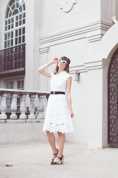 Chicwish Dress // Ferragamo Belt // Swedish Hasbeens Sandals // Celine Sunglasses S H O P . Swedish Hasbeens, Sandals Outfit, Spring Style, Cartier, Celine, Belts, Lace Skirt, Spring Fashion, Dior