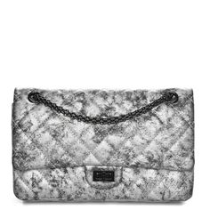 af23612ec19eae CHANEL Metallic Caviar Quilted 2.55 Reissue 226 Flap Silver Black 247488  Diamond Quilt, Leather Interior