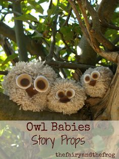 Cute fluffy #owls made from pom poms. Easy to make and great to use as story props on #forestschool #storytelling trips...