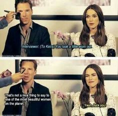 Benedict Cumberbatch and Keira Knightly Get Defensive In a Joking Manner During An Interview Dc Memes, Funny Memes, Hilarious, Funniest Memes, Marvel Memes, Ben Barnes, Sherlock Bbc, Benedict Sherlock, Watson Sherlock