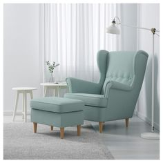 IKEA - STRANDMON, Wing chair, Skiftebo light turquoise, , You can really loosen up and relax in comfort because the high back on this chair provides extra support for your year guarantee. Read about the terms in the guarantee brochure. Strandmon Ikea, Wing Chair, Light Turquoise, Turquoise Art, Home And Living, Home Furnishings, Living Room Decor, Interior Design, Sofa Design