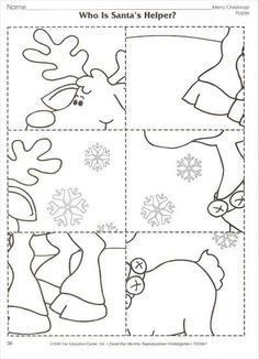 Winter-Arbeitskarte - New Ideas Preschool Christmas Crafts, Christmas Activities, Holiday Crafts, Christmas Colors, Christmas Themes, Kids Christmas, Handmade Christmas, Illumination Noel, Christmas Worksheets