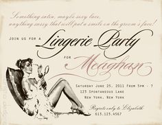 Vintage Bachelorette Party invitations/Lingerie Party invitations/Bridal Shower invitations with pearlized pink envelopes -  set of 11. $38.50, via Etsy.