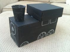 cardboard box train craft project for toddler and preschooler