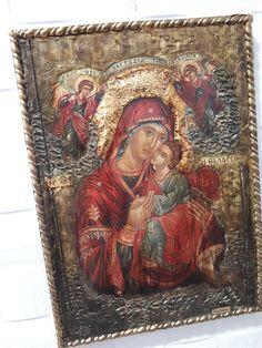 Virgin Mary of Sea Thalassini -Jesus Icon - Orthodox Byzantine Religious Icon - Antique Style Icons Greek Icons, Byzantine Icons, Religious Icons, Gold Labels, Orthodox Icons, Virgin Mary, Rare Antique, Style Icons, Handmade Items