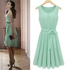 2012 Summer New Womens Sleeveless Pleated Chiffon Vest Dress Skirt | eBay