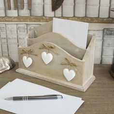 Wooden Heart Letter Rack