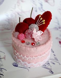 SALE Felt Cake Handmade - Heart Collection - Tea Party Toy or Home Decoration - Photograper Prop. $13.00, via Etsy.