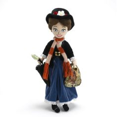 The magical nanny Mary Poppins: practically perfect in everyway. She comes carrying her flying umbrella and magically mysterious carpet handbag.