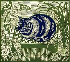 Blue Cat - Linocut by Richard Bawden