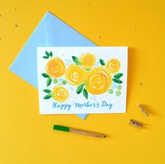 Happy Mother's Day Card - Card for Mother's Day, Card for Mom, Yellow Floral Watercolor Card - No. 239C