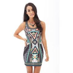 LOVE 21 CONTEMPORARY Geo Print Bodycon Dress (€22) ❤ liked on Polyvore featuring dresses, geometric dress, sleeveless dress, bright bodycon dress, forever 21 dresses and bodycon dress