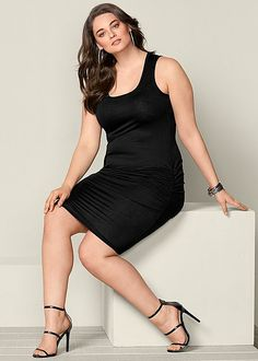 Slip on this sexy dress and glow with confidence. Venus plus size ruched tank dress.