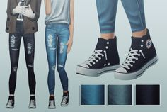 "e-neillan:  "" The Sims 2 / AF Jeans Collection / 3 colors / download  Credits: Semller, Martini and Always Sims  """
