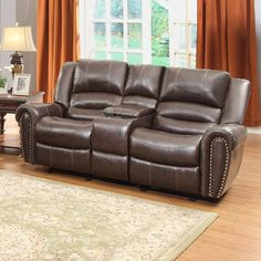 Homelegance Center Hill Casual Brown Faux Leather Reclining Loveseat