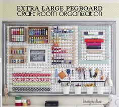 #papercraft #craft supply #organization posted on CraftStorageIdeas.com extra-large-pegboard-craft-room-organization