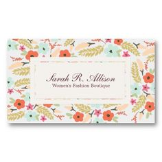 girly business cards featuring an elegant floral pattern in soft colors: blue, peach, orange and green // cute business cards // chic business cards // fashion boutique business cards // custom business cards // Customize it at http://www.zazzle.com/colorful_flowers_fashion_boutique_business_card-240087333322137335?rf=238395237176455059