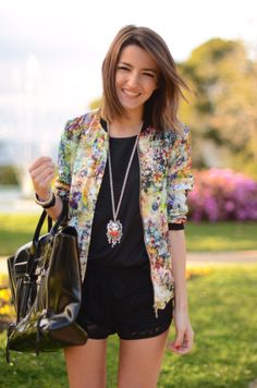 black shorts and black loose top with bright blazer and funky necklace. Love how easy this is!