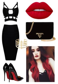 """Black&red #1"" by anastasiasu on Polyvore featuring мода, Christian Louboutin, Prada, Lime Crime и BauXo"