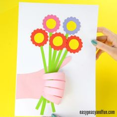 With Mother's day just around the corner we though it would be a great time to share this hand pint flower craft with you which doubles up as a nice Mother's day card too! This little craft is super personal too as kids have to trace their own hand to make it work. Suck a …