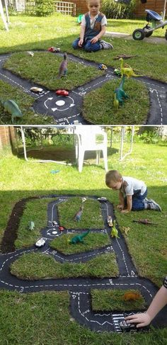 Backyard Projects For Kids: DIY Race Car Track Playing outside is a crucial part of development for any human beings. With urban landscape taking much of space reserved for unrestricted play, the ones who have a backyard are blessed. Kids Outdoor Play, Backyard For Kids, Backyard Projects, Outdoor Fun, Projects For Kids, Diy For Kids, Cool Kids, Diy Projects, Garden Kids