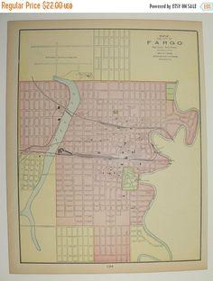 Vintage Map of Fargo North Dakota and St Paul Minnesota Map 1900 City Street Map, Antique Art Map, Office Gift for Coworker, Vintage Décor available from OldMapsandPrints.Etsy.com #FargoNorthDakota #StPaulMinnesota