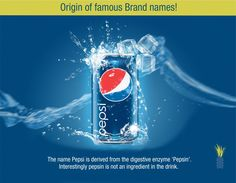 Do you know the origin of this famous Brand name? ‪#‎Pepsi ‪#‎famousbrandfacts‬!