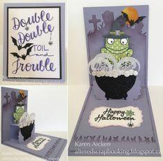 Karen Aicken using the Pop it Ups Lucy Label Pop-up, Hoppy the Frog, Cup Pop Stand, Props 9, Halloween Scene die sets and Halloween clear stamps by Karen Burniston for Elizabeth Craft Designs.