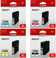 Original Canon Maxify 2500XL Ink Cartridges full set Black/Magenta/Yellow/Cyan  #Canon