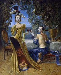 Cumpleaños del mago- Michael Cheval, óleo sobre lienzo